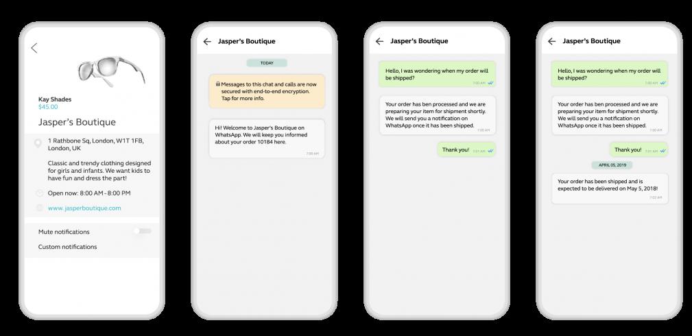 WhatsApp Business API shopping notifications example