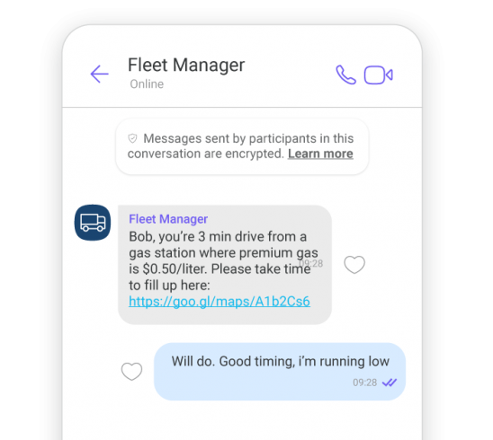 Example of sending gas notifications over Viber