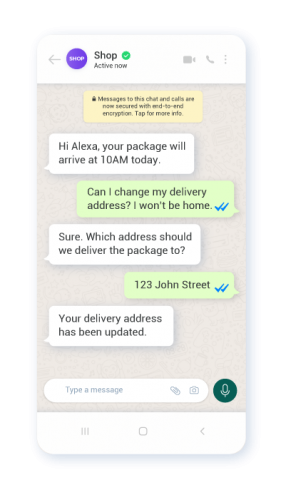 Example of automated customer service on WhatsApp