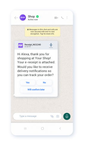 Example of using WhatsApp interactive buttons