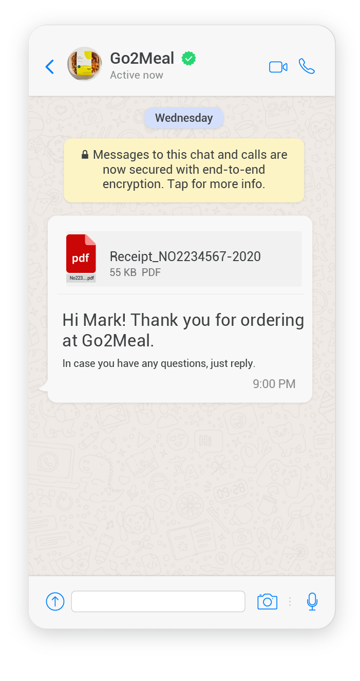 Example of an e-receipt using a media message template