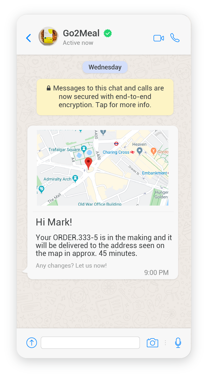 Example of a delivery location notification using media message templates