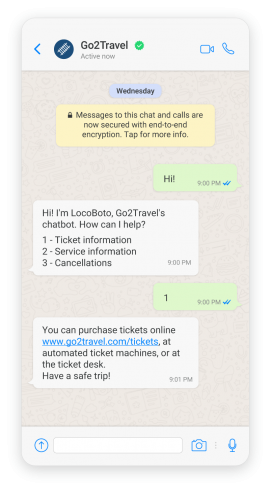 WhatsApp chatbot used in travel