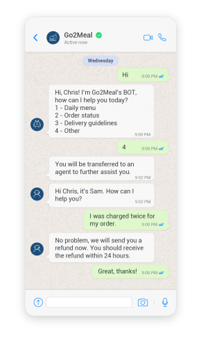 Example of a chatbot redirecting customers to an agent