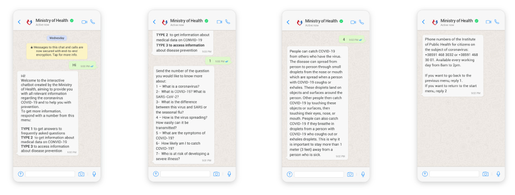 WhatsApp chatbot for COVID-19 safety information