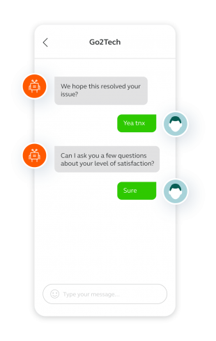 Screengrab showing another chatbot business benefit: they can be used to quickly collect customer feedback to further enhance the experience