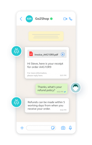 example of a conversation between a chatbot and customer