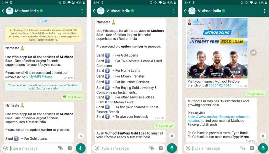 Muthoot FinCorp: WhatsApp customer engagement examples