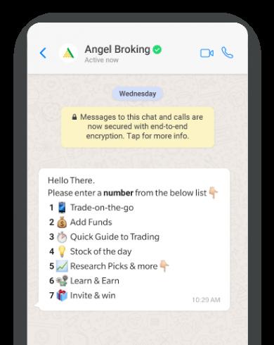 Screengrab displaying service menu options within WhatsApp