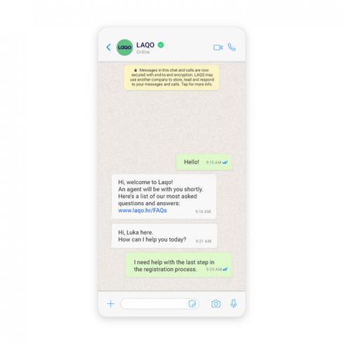 Example of Laqo's customer service on WhatsApp
