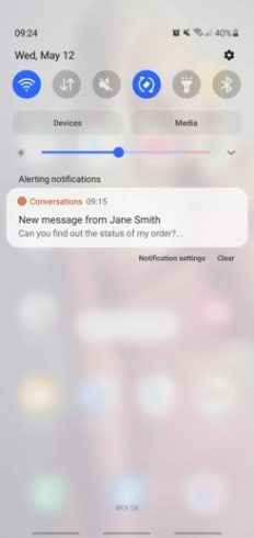Example of Conversations push notification for agents
