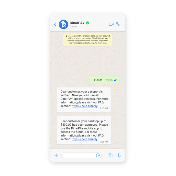 Example of DinarPAY notifications on WhatsApp
