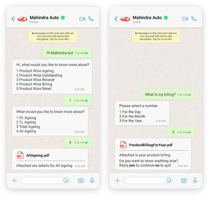 Example of Mahindra Auto chatbot responses on WhatsApp